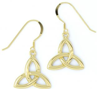 "14K Yellow Gold Solid Silver Celtic ""Trinity Knot"" Earrings"