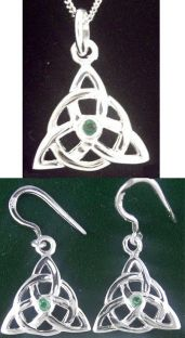 "14K White Gold Irish ""Celtic Knot"" Earrings & Necklace Set"