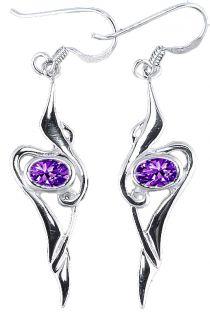 Amethyst Silver Celtic Earrings