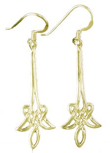 14K Yellow Gold Solid Silver Celtic Dangle Earrings