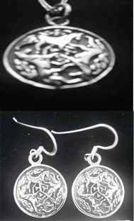 "Silver Irish ""Celtic Horse"" Earrings + Pendant Set"