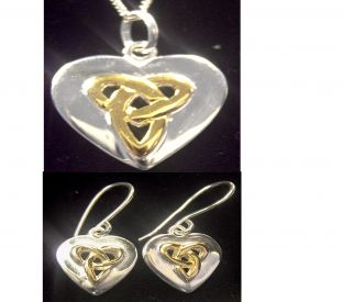 "14K Two Tone Gold Solid Silver Irish ""Celtic Knot"" Earrings & Pendant Set"