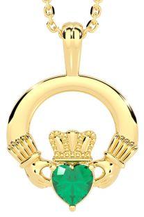 "Gold Emerald .18cts Irish ""Claddagh"" Pendant Necklace - May Birthstone"