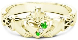 Gold Natural Emerald .035cts Natural Diamond .01cts Claddagh Celtic Knot Ring - May Birthstone