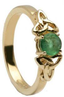 Emerald 10K/14K18K White Gold Celtic Engagement Ring