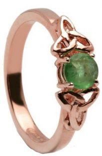 10K/14K18K Rose Gold Genuine Emerald Celtic Engagement Ring