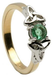 10K/14K18K Two Tone Yellow and White Gold Genuine Emerald Celtic Engagement Ring