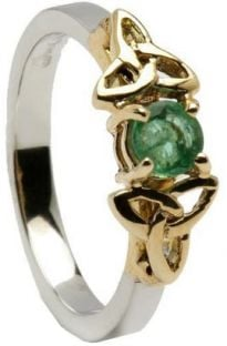 10K/14K18K Two Tone White & Yellow Gold Genuine Emerald Celtic Engagement Ring