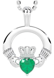"White Gold Emerald .18cts Irish ""Claddagh"" Pendant Necklace - May Birthstone"