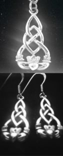 "Silver Celtic ""Claddagh"" Pendant + Earrings Set"