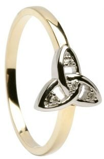 10K/14K/18K Two Tone Gold Diamond Engagement Celtic Knot Ring