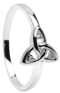 10K/14K/18K White Gold Diamond Engagement Celtic Knot Ring