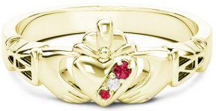 10K/14K/18K Gold Genuine Red Garnet.035cts Genuine Diamond .1cts Claddagh Celtic Knot Ring - January Birthstone