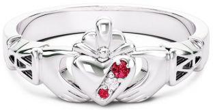 10K/14K/18K White Gold Genuine Red Garnet.035cts Genuine Diamond .1cts Claddagh Celtic Knot Ring - January Birthstone