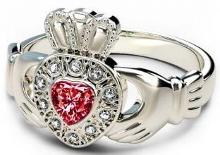 10K/14K/18K White Gold Genuine Diamond .13cts Red Garnet .25cts Claddagh Engagement Ring