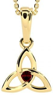 """Gold Red Garnet .06cts """"Celtic Knot"""" Pendant Necklace - January Birthstone"""