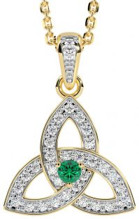 """White & Yellow Gold Genuine Diamond .15cts Genuine Emerald .10cts """"Celtic Knot"""" Pendant Necklace"""