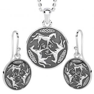 "Silver Irish ""Celtic Horse"" Dangle Earrings + Pendant  Necklace Set"