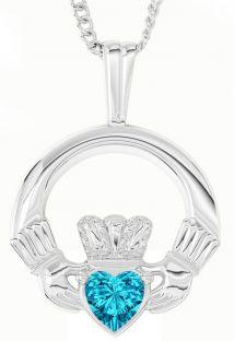 "White Gold Aquamarine Irish ""Claddagh"" Pendant Necklace - March Birthstone"