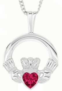 "White Gold Red Garnet Irish ""Claddagh"" Pendant Necklace - January Birthstone"