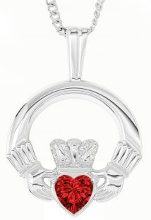 White Gold Ruby .18cts Irish Claddagh Pendant Necklace - July Birthstone