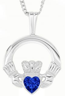 White Gold Sapphire .18cts Irish Claddagh Pendant Necklace - September Birthstone