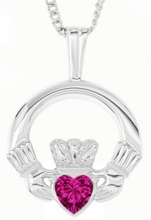 "White Gold Tourmaline Irish ""Claddagh"" Pendant Necklace - June Birthstone"