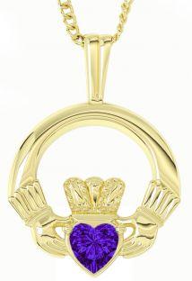 "Gold Alexandrite Irish ""Claddagh"" Pendant Necklace - June Birthstone"