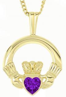 "Gold Amethyst Irish ""Claddagh"" Pendant Necklace - May Birthstone"