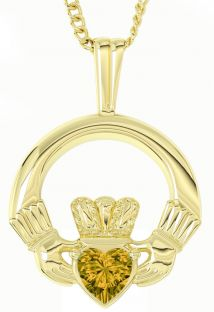 "Gold Citrine Irish ""Claddagh"" Pendant Necklace - November Birthstone"