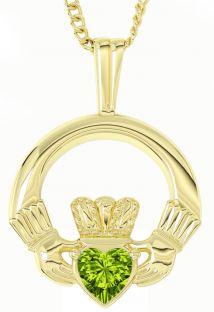 "Gold Peridot Irish ""Claddagh"" Pendant Necklace - August Birthstone"