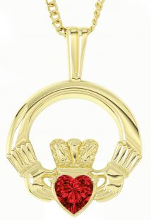 Gold Diamond Irish Claddagh Pendant Necklace