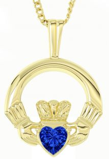 Gold Sapphire .18cts Irish Claddagh Pendant Necklace - September Birthstone