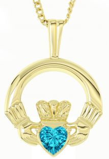 "Gold Topaz Irish ""Claddagh"" Pendant Necklace - December Birthstone"