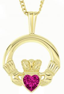 Gold Pink Sapphire .18cts Irish Claddagh Pendant Necklace - October Birthstone