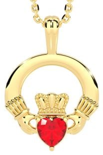Gold Ruby .18cts Irish Claddagh Pendant Necklace - July Birthstone