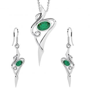 Silver Emerald Celtic Dangle Earrings + Pendant Necklace Set
