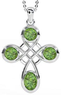 "Silver ""Irish Amber"" Celtic Cross Pendant Necklace"
