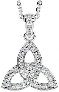 "White Gold Genuine Diamond .25cts ""Celtic Knot"" Pendant Necklace"