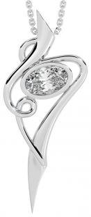 Silver Diamond Celtic Pendant Necklace