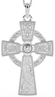 """Mens Extra Large Silver """"Warrior"""" Celtic Cross Pendant Necklace"""