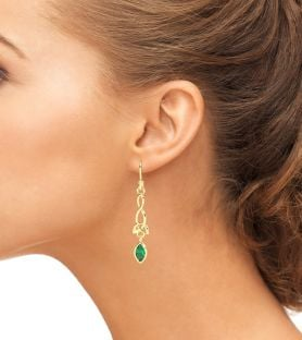 14K Gold Solid Silver Diamond Celtic Dangle Earrings