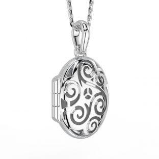 "Silver Irish ""Celtic Spiral"" Locket Pendant Necklace"