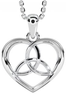 """14K White Gold Solid Silver Irish """"Celtic Knot"""" Heart Pendant Necklace"""