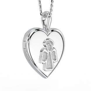 "Silver ""Irish Angel"" Locket Pendant Necklace"