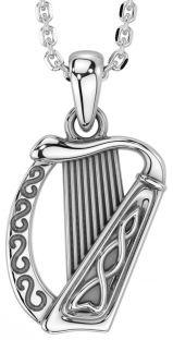 "Silver Irish ""Harp"" Pendant Necklace"