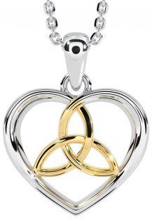 "14K White & Yellow Gold Irish ""Celtic Knot"" Heart Pendant Necklace"