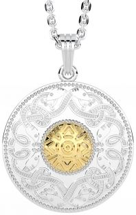 Celtic Warrior 14K Two Tone Gold Solid Silver Pendant Necklace - Small