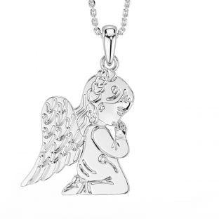 "Silver Irish ""Guardian Angel"" Pendant Necklace"