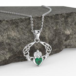 "Silver Emerald Celtic ""Claddagh"" Pendant Necklace"